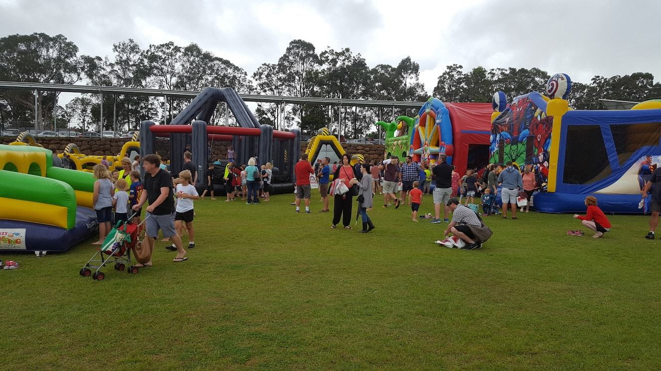 Inflatables at a School Fete