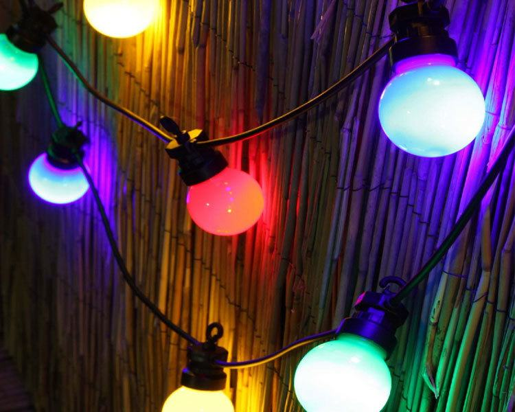 Coloured Festoon Lighting Hire Brisbane