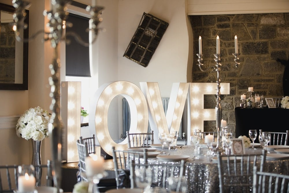 Light Up Wedding Letters at Party Venue