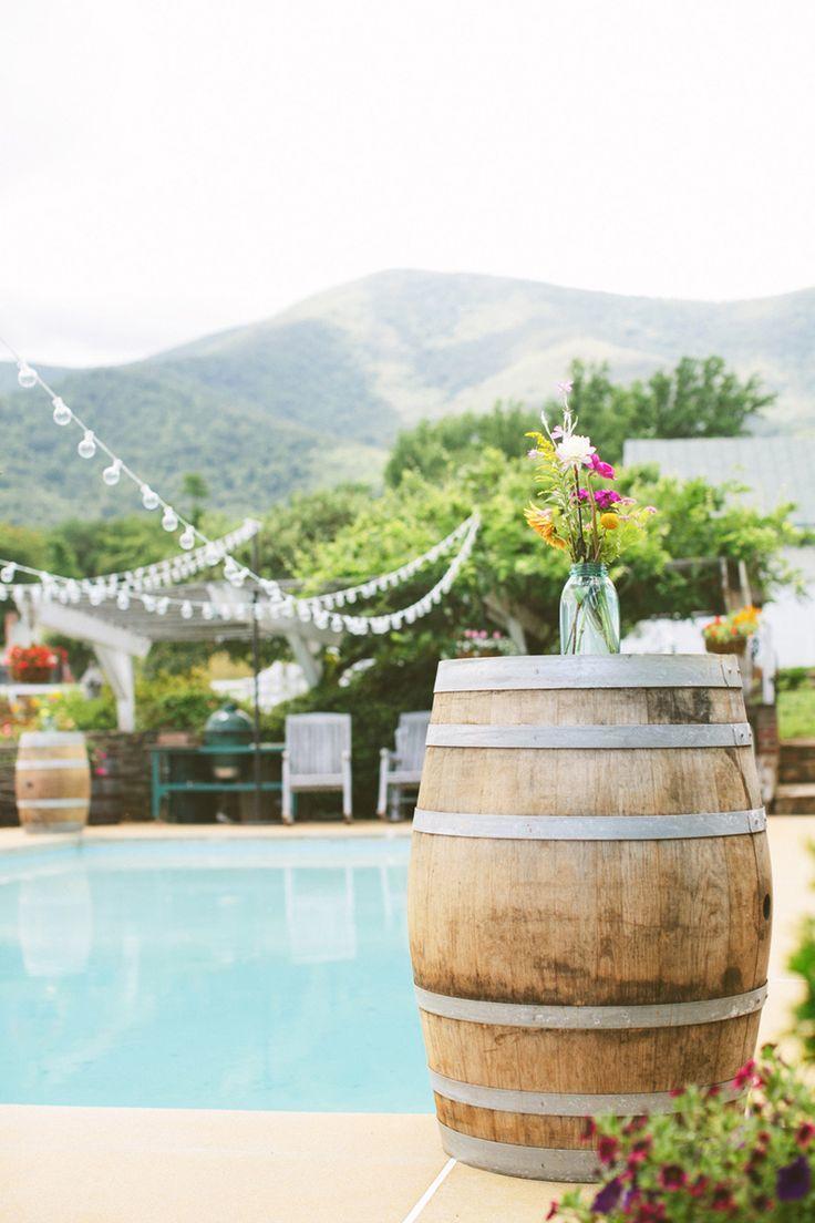 Wine Barrels in Backyard Party